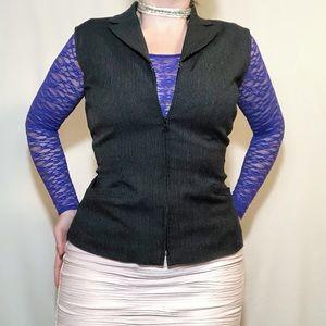Vintage Jessica Petites zip up pinstripe vest